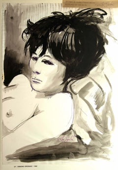 Portrait of Woman - Original China Ink and Watercolor by Leo Guida - 1968