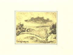 Figure in the Landscape - Pen on Paper by Mogniat-Duclos - Mid-20th Century