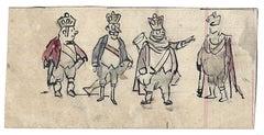 Four Kings - Original Drawing by Gabriele Galantara - 1910s