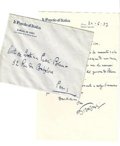 Autograph Letter Signed by Pirazzoli to the Countess A.L. Pecci-Blunt - 1937