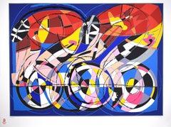 Cyclists - Original Silkscreen by Ugo Nespolo - 2008
