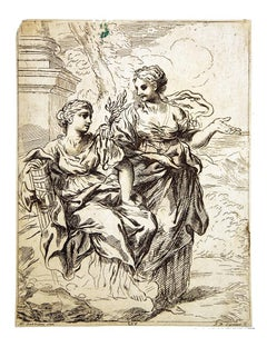 Woman Figures - Original Etching by Anton Domenico Gabbiani - 1782