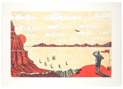 The Canyon - Original Lithograph by Francesco Barilli - 1980