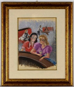 Girls at the bar - Original Mixed Media by Jean Raymond Delpech - 1940s
