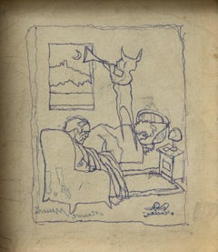 The Dream - Original Pen Drawing by Mino Maccari - 1950s