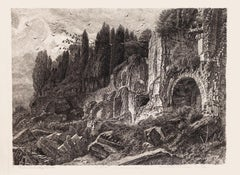Rome, Palatine Hill - Original Etching and Dry-point by Cesare Biseo - 1898