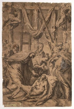 Deposition - Original Etching on Paper by Pompeo Aglano - 1542