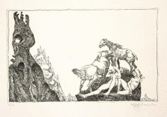 Women and Horses - Original Etching on Paper by Alfredo Brasioli - 1970s