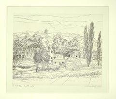Landscape - Original Etching by Andre Roland Brudieux - 1970s