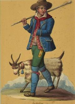 Costume di contadino - Ink and Watercolor Attributed to M. D. Vito - 1620 ca