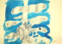 Composition - Original Pencil and Watercolor by Aldo Turchiaro  - 1968