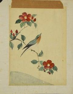 Bird on the Branch - Original Watercolor - 19th Century