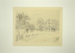 The snow - Original Etching by Andre Roland Brudieux - mid-20th Century