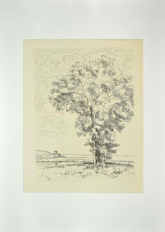 The Tree on the Sea - Etching by Andre Roland Brudieux - Mid-20th Century
