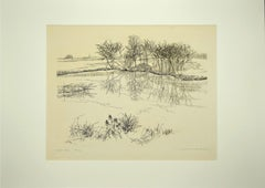 The pond - Original Etching by Andre Roland Brudieux - Mid-20th Century