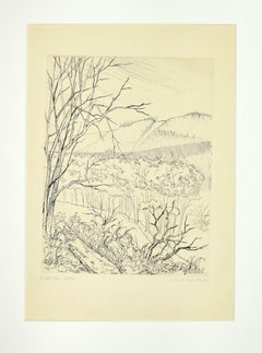 The Valley - Original Etching by Andre Roland Brudieux - Mid-20th Century