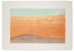 The Desert - Original Lithograph by Piero Guccione - 1980