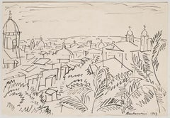 View of Rome - Original Pen Drawing on Paper by Luigi Montanarini - 1947