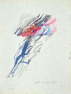 Clouds and Lightnings - Original Watercolor by Danilo Bergamo - 1964