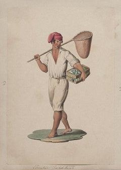 Neapolitan Fisherman - Original Gouache by Michela De Vito - 19th Century
