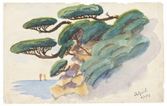 Pines on the Sea - Original Mixed Media by Jean Raymond Delpech - 1937