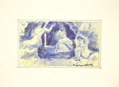 Figures in the Landscape - Original Pen by B. Mogniat-Duclos  - Mid 20th Century