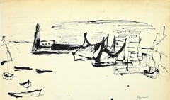The Port - Original Black Marker Drawing by Herta Hausmann - 1960s