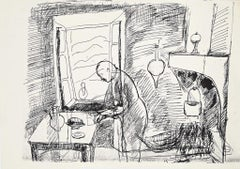 In the Kitchen - Original black pen drawing by Herna Hausmann - Mid-20th century