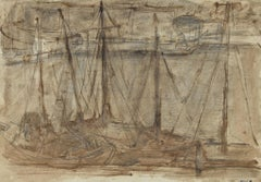 Fishing Vessels on the Sea - Ink and Watercolor by Herta Hausmann - 1945 ca