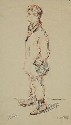 Figure of a Boy - Original Pencil Drawing by Jean Bernard - 1914