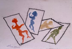 Shadows - Original Pencil and Watercolor by Mino Maccari - 1965