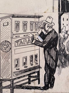 Tobacco - Original China Ink by Gabriele Galantara - 1920s