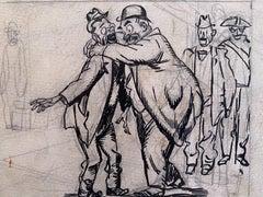 The Drunkard  - China Ink Drawing by Gabriele Galantara - Early 20th Century