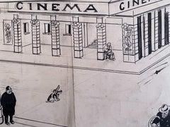 The Cinema - Original China Ink by Gabriele Galantara - Early 20th Century