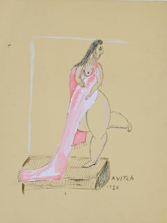"""Figure of Woman - Original Tempera and China Ink signed """"Avitch"""" - 1980s"""