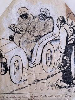 The Car - Original China Ink by Gabriele Galantara - 1910s