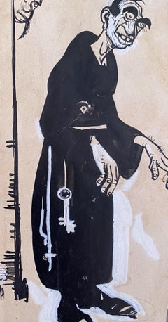 The Monk - Original China Ink by Gabriele Galantara - 1910s