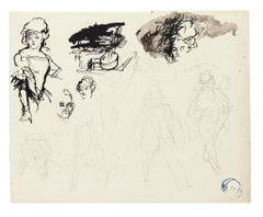 Figures  - Original Ink, Pencil and Watercolor on Paper - 20th Century