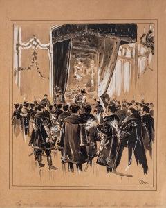 Reception - Ink and Watercolor on Paper by Emile Brod - Early 20th Century