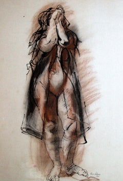Female Figure - Original Ink and Crayon by Rico Lebrun - 1941