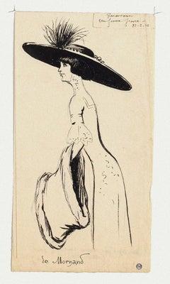 Portrait de Mme De Mornand - Ink on Paper by Maurice Lourdey - 1910