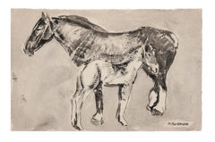 Horses - Original Ink and Watercolored Drawing - Mid-20th Century