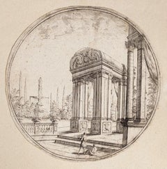Architectural View- Original Etching by C. A. Buffagnotti - Early 18th Century