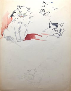 Cats - Original Watercolor and Pen by Marie Paulette Lagosse - 1948