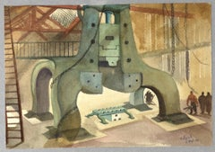 Factory - Original Watercolor by Jean Delpech - 1939