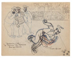 Bowlers - Original Drawing by Angelo Griscelli - Mid-20th Century