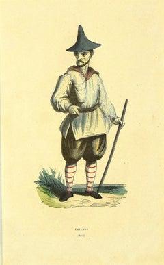 Korean - Original Hand-watercolored Lithograph - 1854
