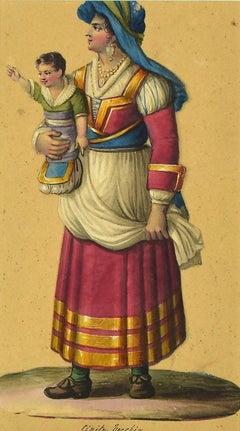 Costume di Civita Vecchia - Original Watercolor by M. De Vito - Mid-19th Century