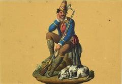 Hunter - Original Watercolor by Michela De Vito - 1820 ca.