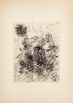 Flowers Composition - China Ink and Watercolor by G. Bourgogne -Mid-20th Century